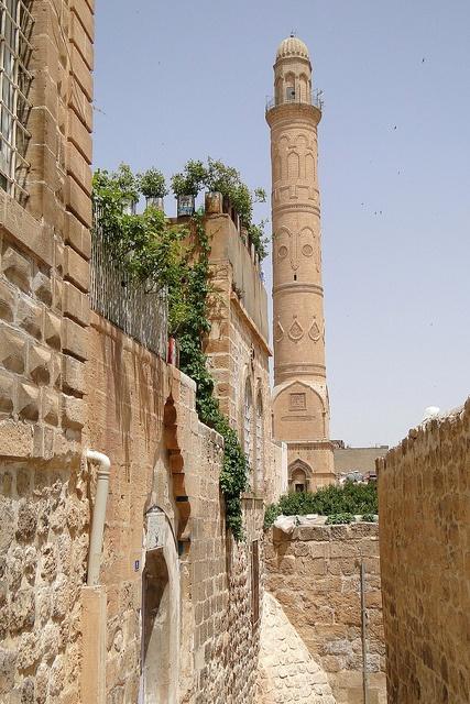 Old City Street Scene with Sehidiye Camii - 14th-Century Mosque - Mardin - Turkey