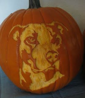 Kinda want to try this... pit bull pumpkin carving by Laura McCabe