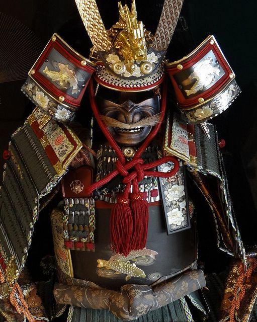 Modern replica samurai armor on display for Children's Day in Japan