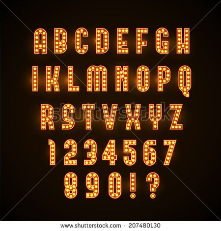 marquee light bulb font retro glowing font