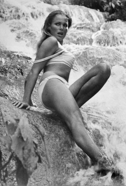 "007 James Bond Girls ••Ursula Andress••  1962 ""Dr No"" Honey Rider (Swiss Goddess ; ) • the original & still hottest Bond Girl! • Bond = Sean Connery • daring bikini scene rocked world (revisited 2002 by Halle Berry's Jinx Johnson in Bond#21 2002 Die Another Day) • Ursula also as Vesper Lynd in 1967 Bond-parody Casino Royale w/ David Niven • German father/Swiss mom, b. 1936 Mar19 (age 80 in 2016, 26 in Bond) •imdb: www.imdb.com/name/nm0000266 •wiki…"