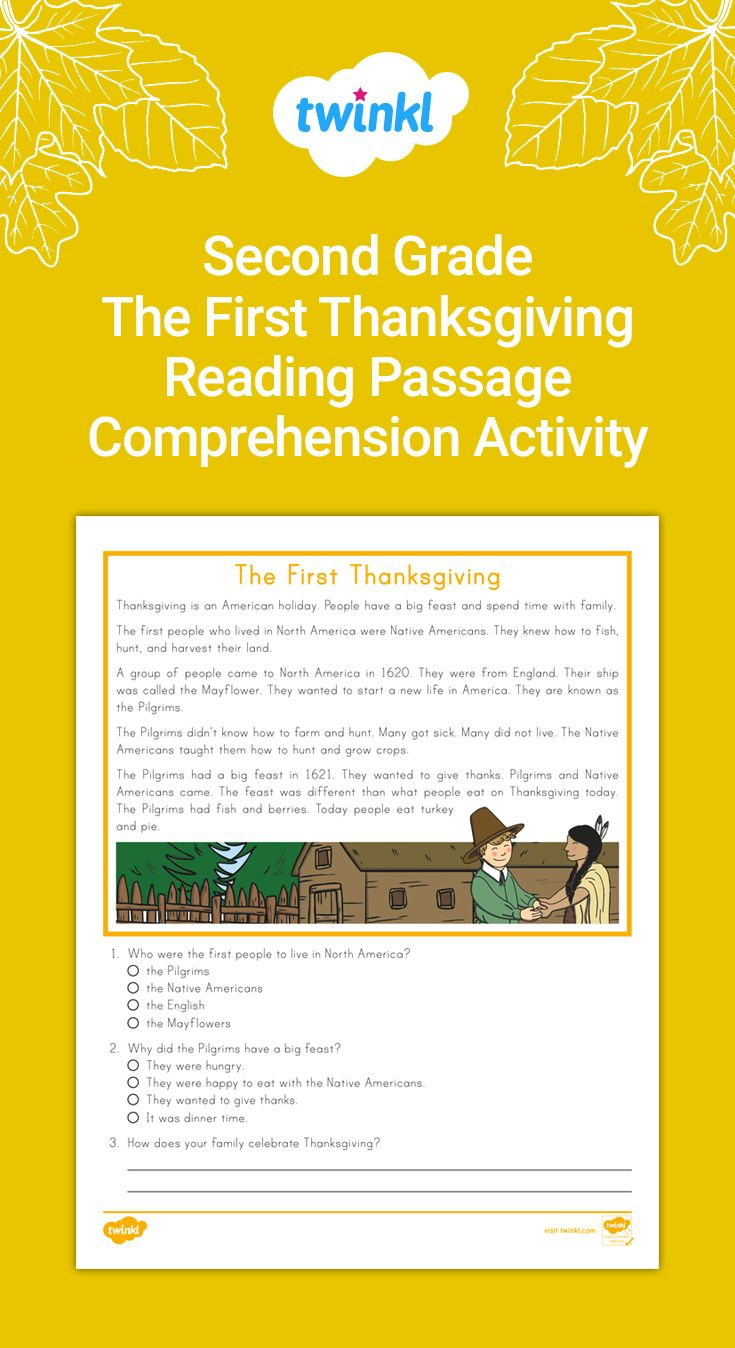 Second Grade The First Thanksgiving Reading Passage Comprehension Activity Thanksgiving Reading Passages Thanksgiving Readings Reading Passages [ 1348 x 735 Pixel ]