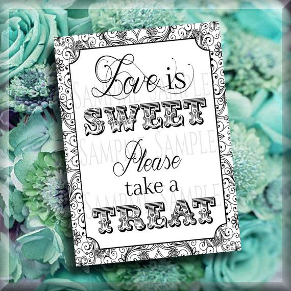 Treat Table Printable Sign Candy Table Sign 2 Sizes 8x10 by iDoDiY