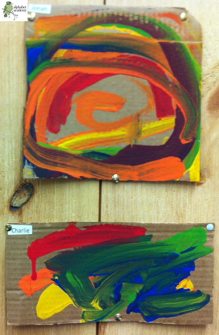 An illustration of a rainbow, and cardboard and rainbow-colored paints were provided for this open-ended art project! — Alphabet Academy North Preschool http://thealphabetacademy.com #reggio-inspired #rainbow #open #art #project #paints #preschool