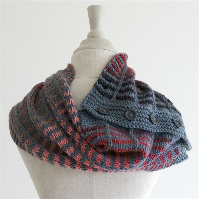 handknit wool button cowl scarf, wool silk scarf, winter fashion, grey and red by Ms Williams Knits on madeit.com.au