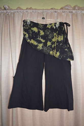 Women's Ladies Avatar Black Green Wide Leg Yoga Pants with Attached Skirt New | eBay