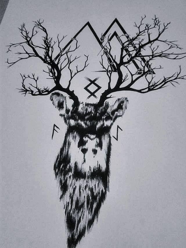 #deer #runes #vikingrunes #deertattoo #centropen #tree #antlers
