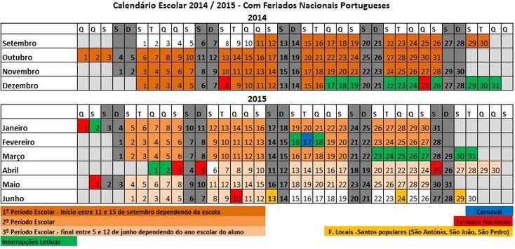 Calendário Escolar 2014 2015 Calendário Escolar Ano Letivo 2014 2015 em Excel (pré escolar, básico e secundário)
