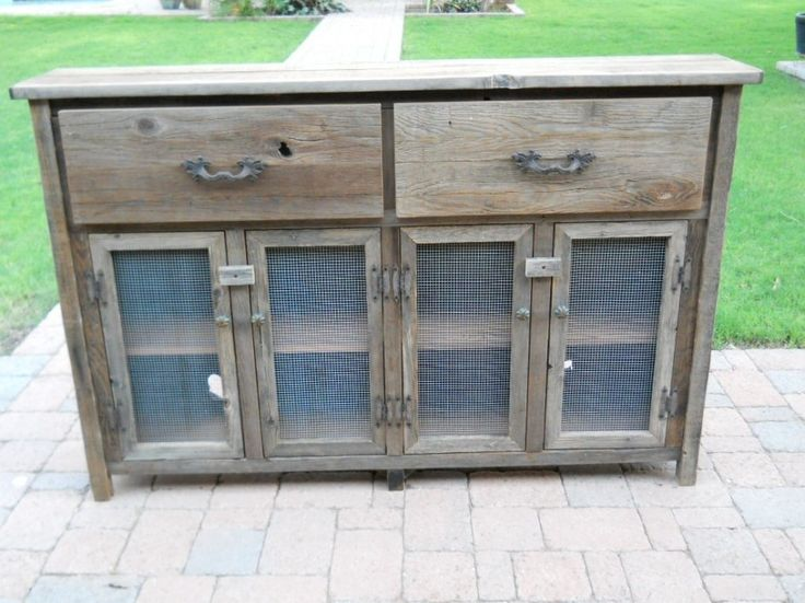 Captivating Outdoor Buffet Table Or Cabinets From Reclaimed Barn Wood  Planks With Antique Cast Iron Drawer