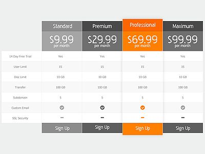 8 best table cell design images on Pinterest Pricing table - price chart template