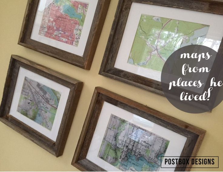 Vintage maps from places where he lived, for a man's home office, design by Postbox Designs
