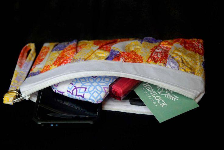 purple, white orange mandala inspired Ruffled Wristlet, modern,evening bag, gift for her, cosmetic bag, clutch purse, stylish unique gift,