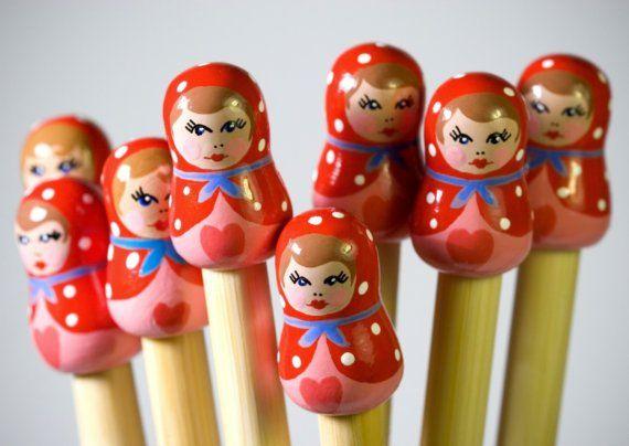 Candy Floss Knitting Needles  Matryoshka by sailonbaby on Etsy, $30.00