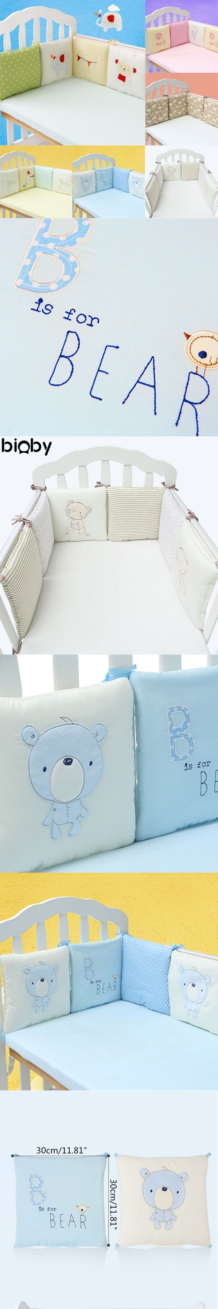 6Pcs/Set Baby Infant Cot Crib Bumper Safety Protector Toddler Nursery Bedding Set Baby Protection Cushion Pad Baby Care Supplies