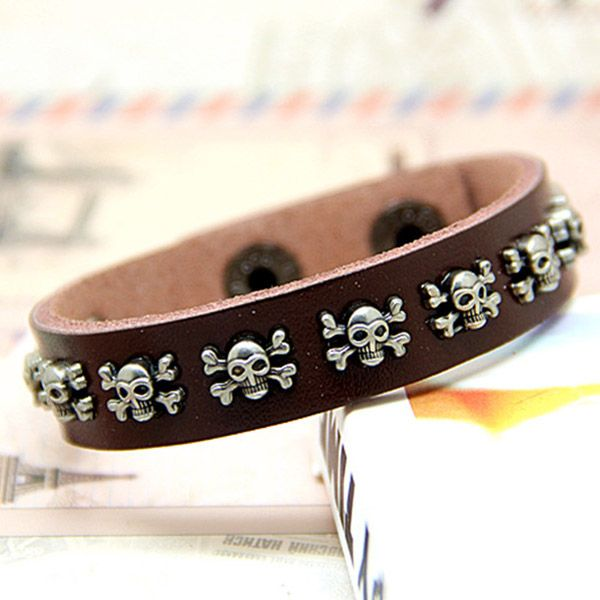 Pirates Skull Leather Bracelet