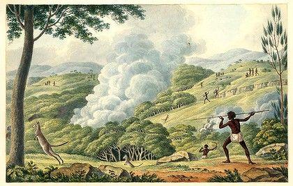 Joseph Lycett (1775-1828)  Aborigines using fire to hunt kangaroos (1817)  watercolour on paper; 17.7 x 27.8 cm.  National Library of Australia