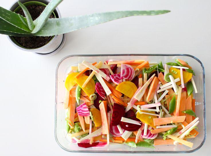 Fylt kylling med ovnsbakte grønnsaker