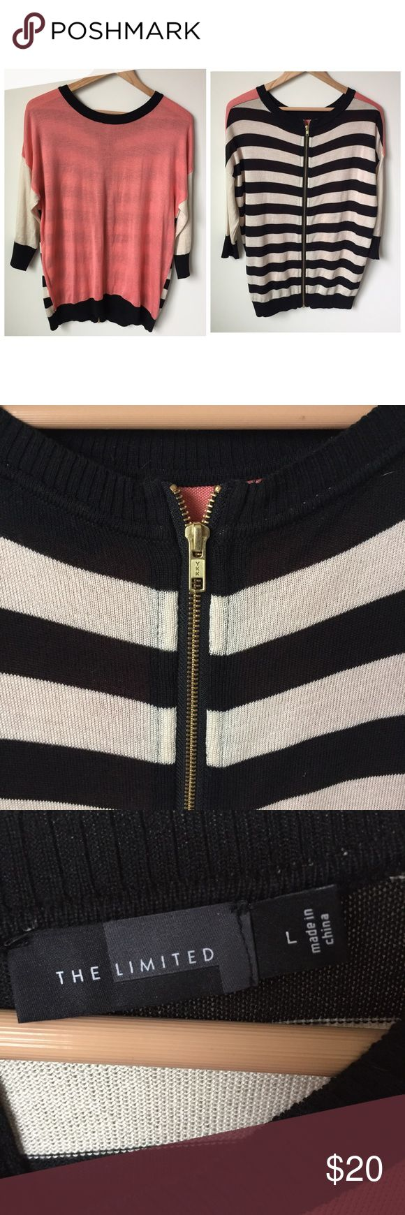EXPRESS Oversized Slouchy Sweater w/ Exposed Zip Great Condition! No flaws. This sweater is super soft and and comfortable. But it can also be dressed up with leggings and heels. The exposed gold zipper on the back goes from top to bottom and really gives this piece unique detail! Express Tops