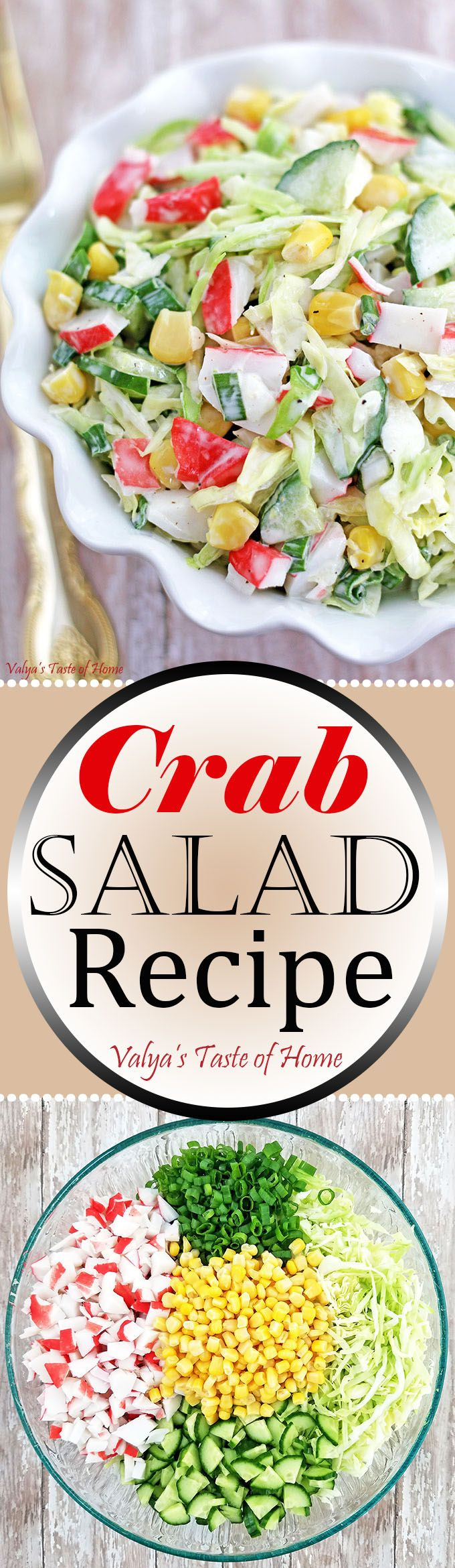 Crunchy, so flavorful, and loaded with crab meat! The salad is perfect for any occasion or just for a simple family dinner. I usually serve it with mashed potatoes, as kids like it. Other delicious ways to eat it is with pasta, or between two slices of bread for an incredible sandwich. As well as in a lettuce or tortilla wrap. This huge bowl of salad is usually gone within minutes every time I make it.