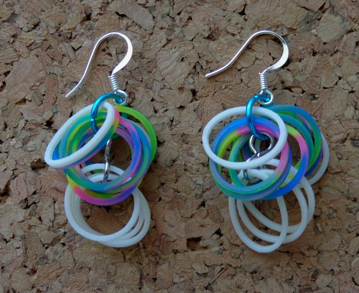 "I just made these ""Loopy Loop"" Rainbow Loom earrings!"