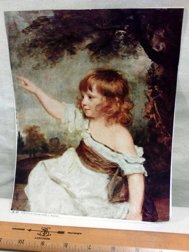 VTG Art Print GIRL Ritratto Di Master J. Reynolds ITALY Rococo Style #Rococo