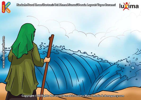 Nabi Musa Dan Umatnya Menyeberangi Laut Merah Saat Dikejar Firaun Buku Anak Lautan Ilustrasi