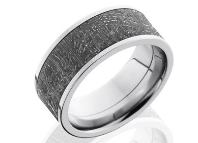 meteorite 4 9mm gibeon meteorite ring lined and edged with cobalt chrome unique mens wedding - Unusual Mens Wedding Rings