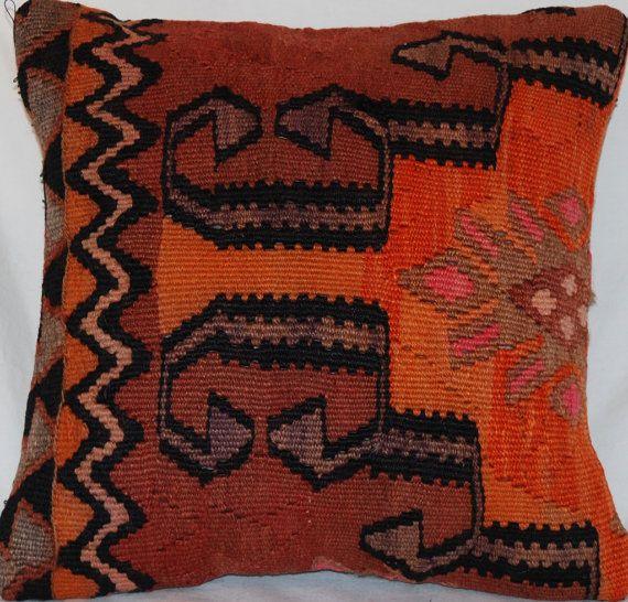 Vintage 15'' Square Wool Handmade knotted Kilim Pillow - Bohemian Cushion