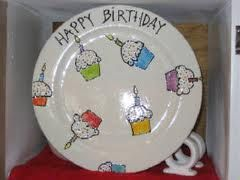 DIY Happy Birthday plate - this is a great baby gift.  Personalize it with the child's name and birthdate and you have an instant birthday tradition!  Love it....