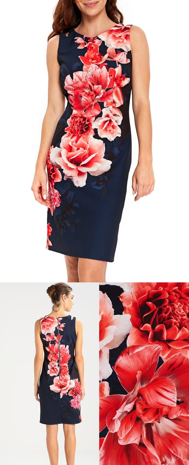 Wallis Scuba Body Con Summer Orchid Dress. Navy Red Pinks Floral Fitted Dress. Great length for a spring wedding guest or Royal Ascot dress. Perfect with a pink floral hat. Mother of the bride for spring summer Wedding, or Royal Ascot Races outfit ideas inspiration. #springwedding #weddingguest ##motherofthebride #royalascotoutfit #navydress #royalascot #bodycon #bodycondress #floraloutfits #affiliatelink #outfits #fashion #fashionista #outfitideas