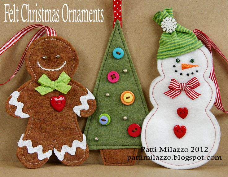 80 best holiday christmas ornaments felt images on for Easy christmas felt crafts
