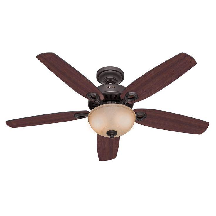 Produits > Modifier : Builder Delux NB un Ventilateur de plafond Noir graphite , pales cerisier / noyer jaune 132 Cm silencieux un verre opal, Hunter • Fan-boutique
