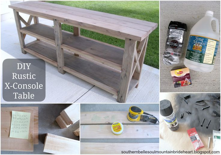 DIY Rustic X Console Table. Southern Belle Soul, Mountain Bride Heart. Step by Step tutorial from Ana White's website found through this blog. Easy DIY console table. Farmhouse, Vintage, Rustic, Industrial, Shabby Chic you name it! It goes with so many styles! Also a DIY Wood Stain found here.