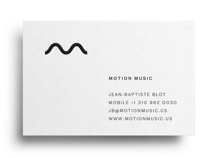 Logo and business card with black block foil detail designed by Face for tour management agency Motion Music