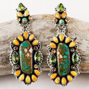 "A Leo Feeney ""Sacred High Mesa"" Turquoise Cluster Earrings Sterling Silver | eBay"