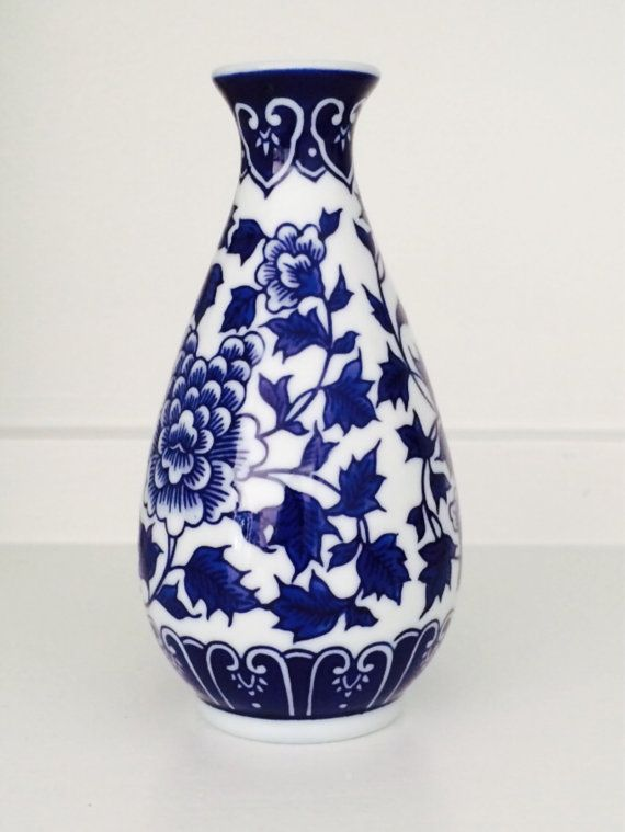 Blue and White Floral Asian Vase by ADecoratorsAttic on Etsy