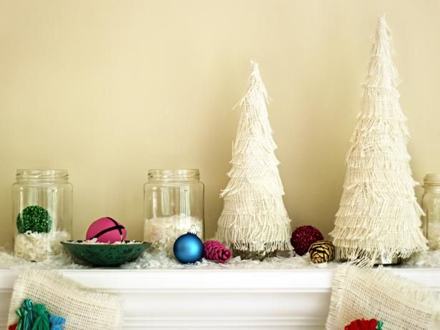 Create your own winter wonderland with these burlap and fringe covered trees >> http://www.diynetwork.com/decorating/colorful-bohemian-style-christmas-decorations/pictures/index.html?i=1?soc=hpp