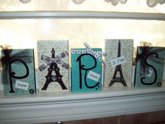 Teal and black Paris letter blocksEiffel by JulieannasCreations