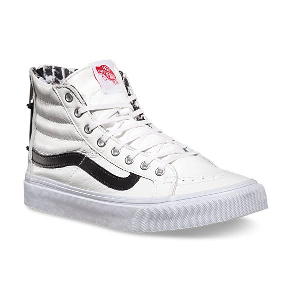 Leather SK8-Hi Slim Zip | Shop Womens Shoes at Vans These would look so cute with a pair of dark high rise skinny jeans rolled up and a tucked in printed t-shirt.