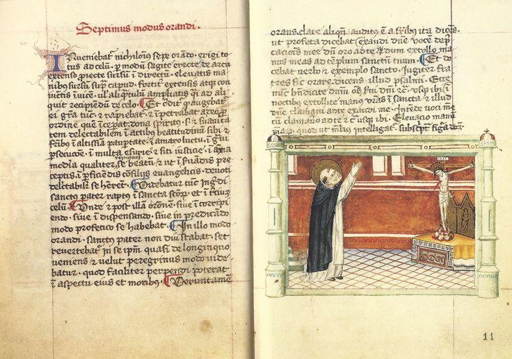 Modi Orandi Sancti Dominici, 7 : les bras joints vers le ciel, codex rossianus 3, 1450, bibliothèque vaticane,