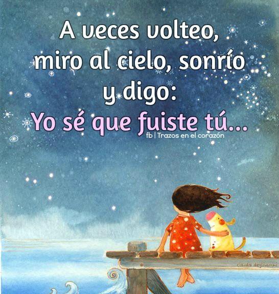 A veces volteo, miro al cielo, sonrío y digo: Yo sé que fuiste tú... @trazosenelcorazon