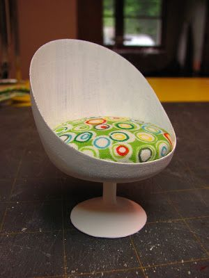Dollhouse Miniature Furniture - Tutorials | 1 inch minis: MODERN DINING SET TUTORIAL - How to make a modern dining set from an air freshener cap.