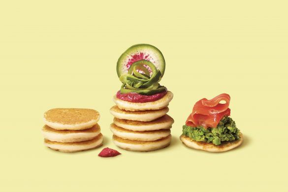 Spring Fling Blinis made with Marcel's Fancy Blinis.  Watermelon Radish, Zucchini, Beetroot Hummus, Smoked Salmon Blinis, Smashed Peas Blinis