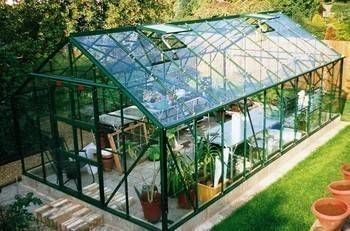 Elite Supreme 10ft 5ins wide x 20ft 5ins long greenhouse finished in GREEN powder coating.