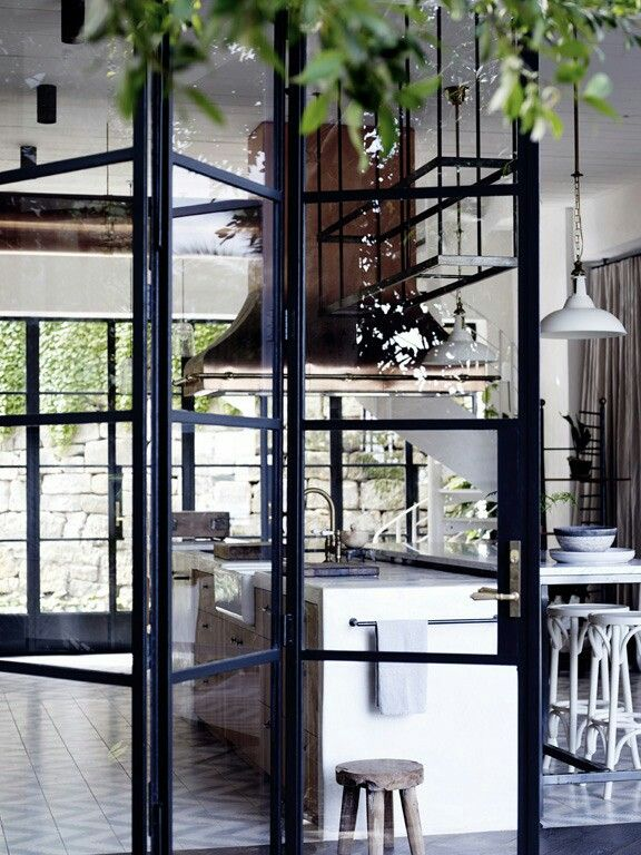 Black Accordion Doors : Black metal glass bi fold doors jamaica san