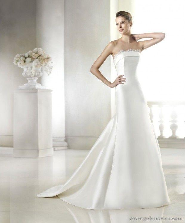 134cd1b696 Elegante vestido de novia liso y sencillo en micado