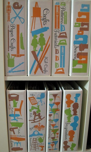 binder storage. love this idea. visual art meets organization.
