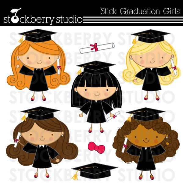 Stick Figure Graduation Girls Personal and Commerical Use Clipart Set. $5.00, via Etsy.