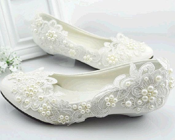 SPECIAL OFFER  Handmade Lace Wedding Shoes Pearl by laceNbling