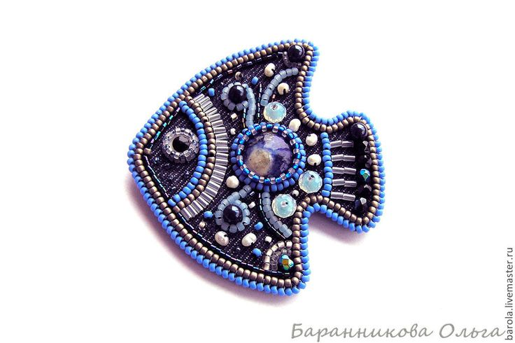 Купить Джинсовая рыбка - тёмно-синий, брошь, брошь-рыбка, рыбка, японский бисер